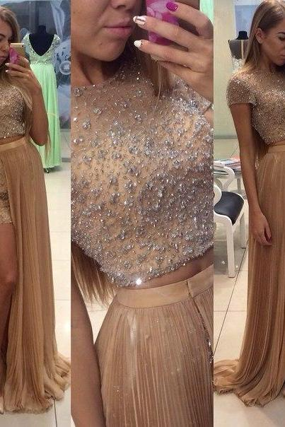 Short Sleeces High Neck Two Pieces Prom Dresses, Mid Section Dark Champagne Prom Dress,Front Split Prom Gowns,Heavy Beaded Graduation Dress,Wedding Party Dress