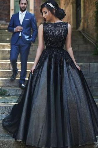 High Neck Black Lace Tulle Prom Dresses,Princess Ball Gown Prom Dress, Fluffy Skirt Evening Gowns,Quinceanera Dress 2016 For Teens Juniors Dress,Fashion Graduation Dresses