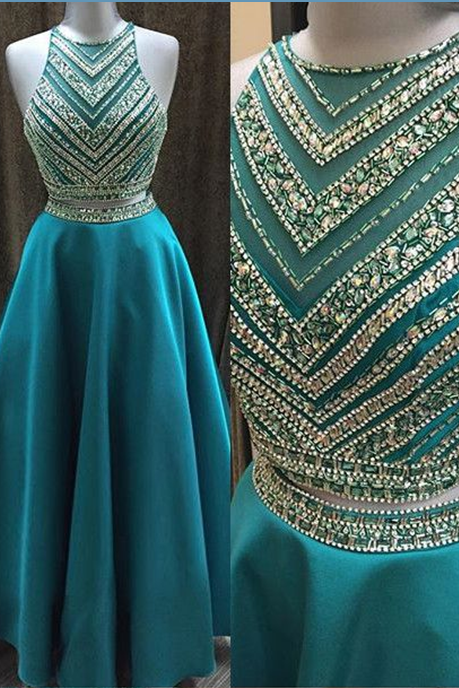2 Pieces Bodice Green Prom Dresses,High Neck Mid Section Evening Dress,Beaded Prom Gowns, Graduation Dresses 2016,Wedding Party Dress