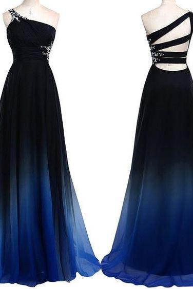 One Shoulder Navy Blue Royal Blue Ombre Prom Dresses,Gradient Color Chiffon Long Prom Dress,Ombre Evening Dress,Wedding Party Gown For Sweet 16 Dresses,Bridesmaid Dresses PD028