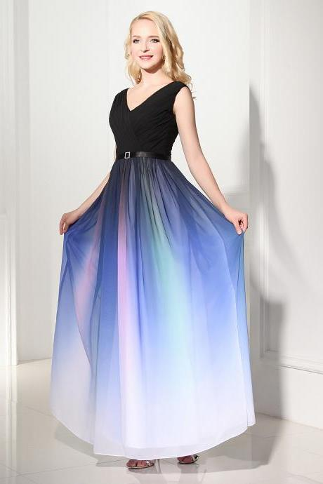 Off the Shoulder Colorized Gradient Chiffon Prom Dresses,Black V Neck Long Prom Dresses,A Line Ombre Prom Dress,Ombre Bridesmaid Dresses,Ombre Formal Women Dress ,Gradient Evening Prom Gown,Wedding Party Dress