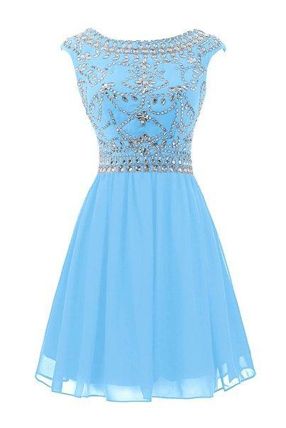 Charming Light Blue Short Prom Dress Homecoming Dresses,High Neck Back V Homecoming Dresses,Beaded Crystals Backless Short Prom Dresses ,Open Back Short Prom Gowns,Short Graduation Dress,Cocktail Dresses