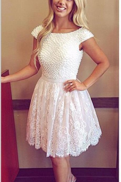 White Lace Backless Homecoming Dresses,Cap Sleeves Pearls Short Homecoming Dresses,Open Back High Neck Short Prom Dresses ,2016 Homecoming Dress,Graduation Dress,Cocktail Dress,Wedding Party Dresses