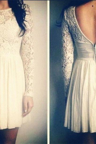 Long Sleeves Lace Homecoming Dresses,High Neck Open Back White Short Homecoming Dresses,Backless Short Prom Dresses ,2016 Homecoming Dress,Cheap Graduation Dress,Short Cocktail Dress,Wedding Party Gowns For Sweet 16 Dresses
