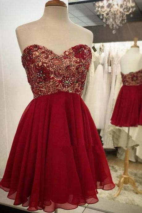 Empire Waist Red Lace Short Prom Dress Homecoming Dresses ,Burgundy Beaded Sweetheart Homecoming Dress,Wedding Party Dress,Short Prom Gowns,Cheap Prom Dresses