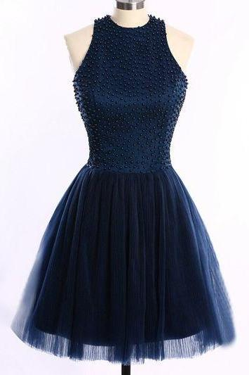 Short Homecoming Dresses ,Navy Blue Tulle Homecoming Dress,High Neck Bodice Short Prom Dresses,Open Back Party Dress, Backless Homecoming Dresses 2016