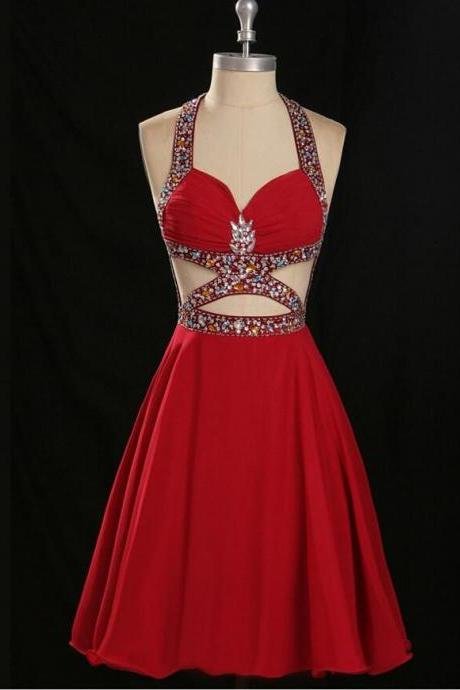 Sexy Red Chiffon Homecoming Dresses ,Open Back Halter Homecoming Dress,Backless Short Prom Dresses,Custom Made Party Dress,Graduation Dresses,Beaded Cocktail Dresses,Sweet 16 Dress,Homecoming Gowns