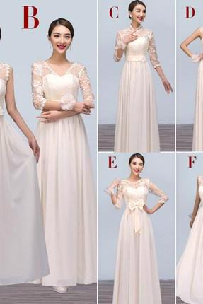 Light Champagne Chiffon Bridesmaid Dresses, Lace Bridesmaid Dress,Cheap Long Bridesmaid Dresses,Custom Made Bridesmaid Gown,Simple Prom Dresses, Party Dresses,Graduation Dresses