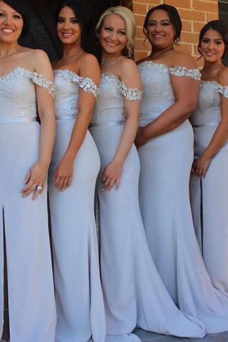 Front Split Lace Mermaid Long Bridesmaid Dresses,Off the Shoulder Bridesmaid Gowns,2016 Bridesmaid Dress,Vintage Bridesmaid Gowns,Custom Made Prom Dresses