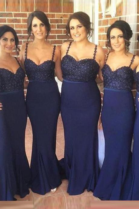 Spaghetti Straps Dark Blue Lace Bridesmaid Dresses, Mermaid Beaded Long Bridesmaid Gowns,High Quality Sheath Evening Prom Dresses,Formal Women Dresses.Wedding Party Dress,Prom Gowns