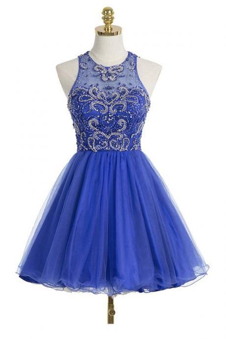 Royal Blue Back O Mini Length Homecoming Dress,High Neck Bodice Beadings Homecoming Dresses,Fashion Short Prom Gowns,Wedding Party Dresses,Sweet 16 Dress