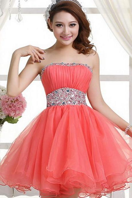 A Line Strapless Coral Mini Length Homecoming Dresses,Custom Made Cheap Beads Short Homecoming Dress Prom Gowns,Sweet 16 Dress,Short Prom Party Dresses