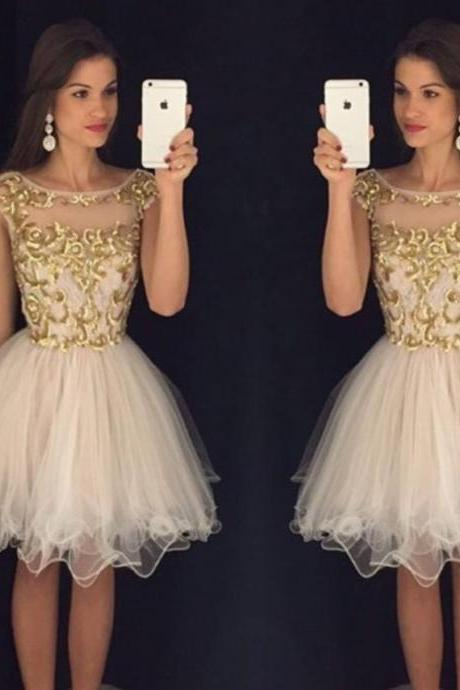 Gold Lace Ivory Tulle Homecoming Dresses ,Cap Sleeves Homecoming Dresses,Short Homecoming Dresses Party Gown,High Neck Homecoming Gowns,Sweet 16 Dresses,Short Evening Prom Dresses