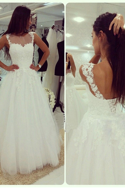 White Lace Wedding Dress,High Neck Off the Shoulder Wedding Dresses With Lace Back Up,High Quality Lace Bridal Wedding Dress,Custom Made Open Back Wedding Gowns,Beach Bridal Gowns