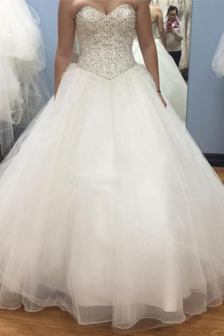 Princess Ball Gown Wedding Dress,Sweetheart Heavy Beads Crystal Wedding Dresses,High Quality Bodice Bridal Dresses,Custom Made Plus Size Wedding Gowns,Vintage Bridal Gowns