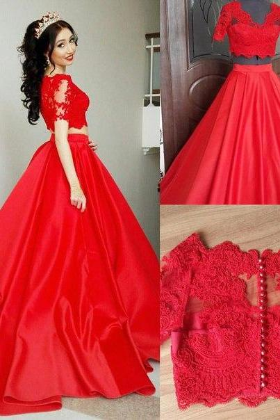 2 Pieces Quinceanera Dresses,Red Ball Gown Prom Dresses ,Short Sleeves Lace Prom Dresses,Two Pieces V Neck Prom Gowns,Red Quinceanera Dresses,Custom Made High Quality Evening Gown Dress