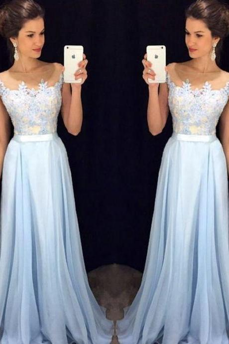 Light Sky Blue Prom Dresses, Appliques Prom Dress,A Line Prom Gown,Long Formal Dresses,Evening Dresses,Prom Dress