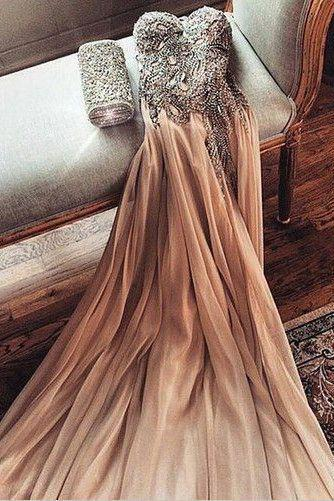 Sweatheart Prom Dress, Champagne Prom Dresses,A-line Prom Gown, Beading Prom Dresses, Long Evening Dresses, Prom Dress