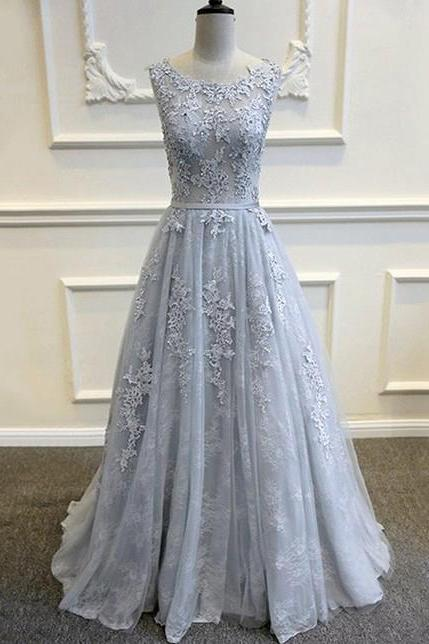 Appliques Prom Dresses, A LIne Prom Dress, Tulle Prom Gown, Long Formal Dresses, Sexy Evening Dresses, Prom Dress