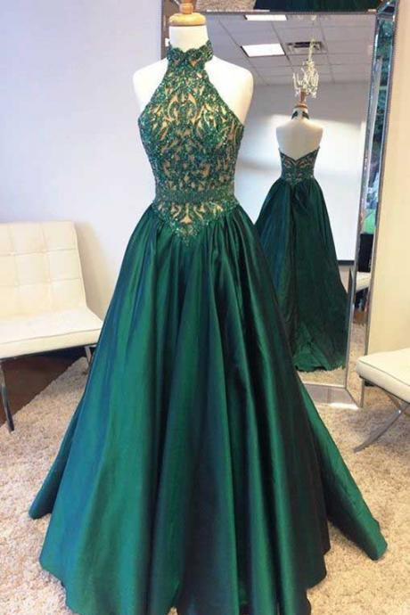 Halter Prom Dresses, Hunter Prom Dress, Beading Prom Dresses, Emerald Green Prom Dress, Long Party Dress, A Line Evening Dresses,Prom Dress
