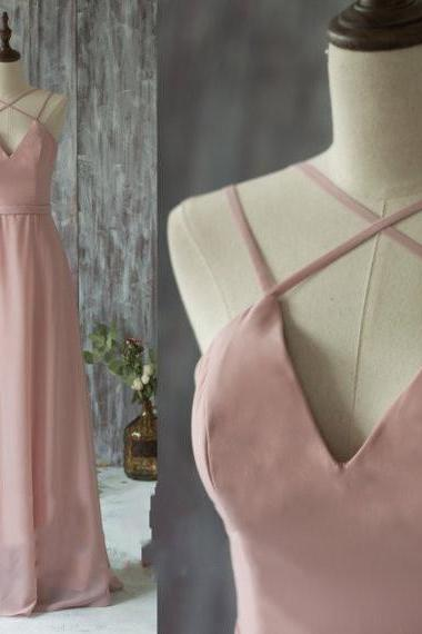 Spaghetti Strap Prom Dresses, 2017 Long Bridesmaid Dress, Blush Prom Dresses, Chiffon Evening Gown, Floor Length Party Dress, Prom Dress