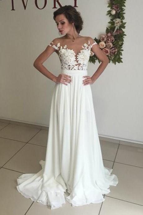 Elegant Wedding Dresses, White Wedding Dress, Chiffon Wedding Dresses with Appliques, Sweep Train Wedding Dress, A Line Wedding Dress, Wedding Dress