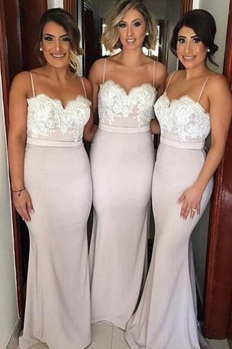 Spaghetti Straps Bridesmaid Dresses, Mermaid Bridesmaid Dresses, Sexy Bridesmaid Dresses, Lace Bridesmaid Dress, Long Bridesmaid Dresses, Bridesmaid Dress