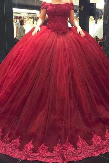 Burgundy Wedding Dresses, Ball Gown Wedding Dresses Short Lace Straps Wedding Dresses, Off Shoulder Wedding Dress,Princess Wedding Gown, Plus Size Wedding Dresses, Wedding Dress