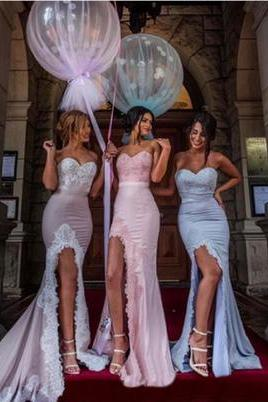 Custom Made Pastel Coloured Sweetheart Neckline Satin Mermaid Bridesmaid Dresses with Lace Applique
