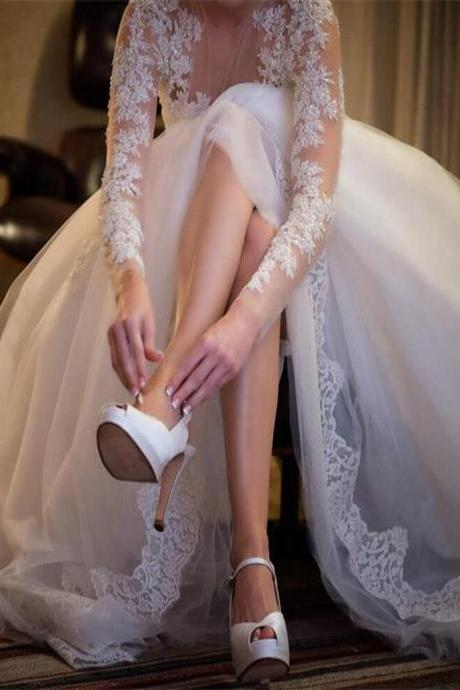 Charming Wedding Gown,Long Sleeve Wedding Dresses,Lace Wedding Dress, Sexy See Through Wedding Party Dresses,Lace Wedding Dress,Plus Size Wedding Dresses,Wedding Dress