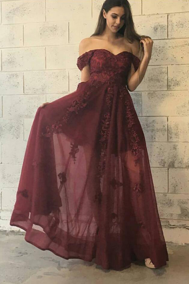 Off the Shoulder Prom Dresses,Floor Length Burgundy Prom Dress, Appliques Prom Dresses,Long Prom Gowns, Special Occasion Dresses,Formal Evening Dress,Prom Dress