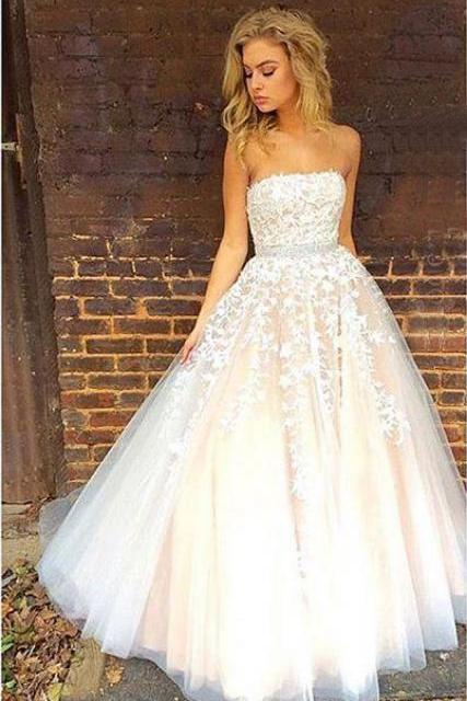 Gorgeous Prom Dress,Strapless Prom Dresses, Long Prom Dress, Wedding Dress 2017,Ball Gown Wedding Dresses,Applique Prom Gowns,Prom Dress