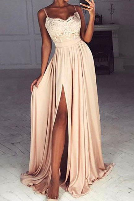 Lace Prom Dress, Long Formal Dress, Sexy Slit Prom Dress, Formal Woman Dress, Chiffon Prom Dress, Charming Evening Dresses,Appliques Prom Dress 2017,Prom Dress