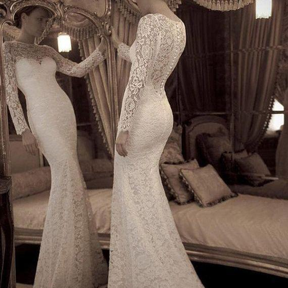 Sexy Long Sleeves High Neck Ivory Lace Mermaid Wedding Dress See Through Trumpet Bridal Wedding Dresses Handmade Bridal Wedding Gown Mermaid Prom Dress