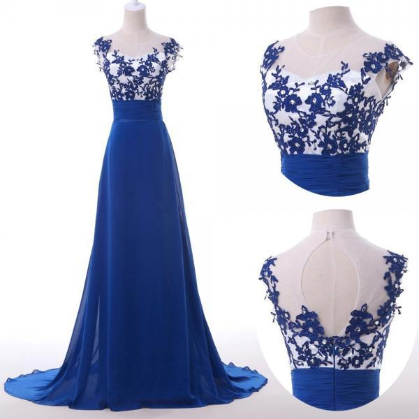 2017 Vintage Retro Floor Length Lace Royal Blue Chiffon Long Evening Dresses Hollowed Back Formal Prom Gown Cap Sleeves Open Back Prom Dress