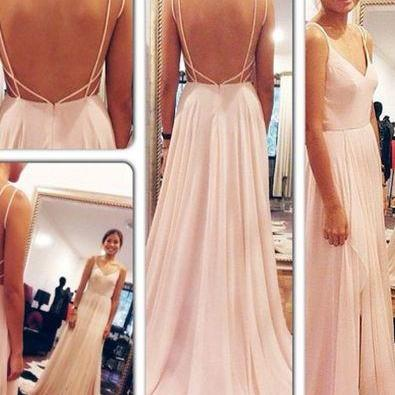 Hot Sales Off The Shoulder Pink Backless Simple Prom Dresses ,Open Back V Neck Front Split Long Prom Dress,Cheap Evening Prom Gown,Bridesmaid Dress,Graduation Dress