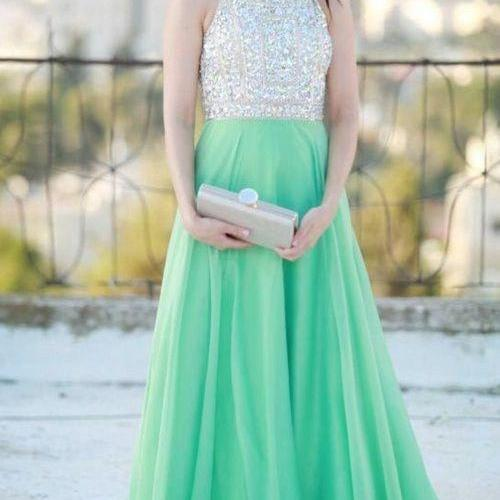 New Arrival A Line Off The Shoulder Open Back Green Chiffon Skirt Long Prom Dresses,Backless Custom Made Evening Dress Prom, Formal Women Dresses