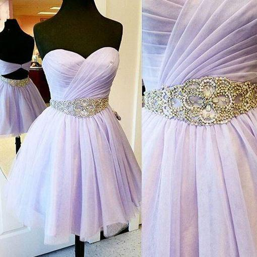 Charming Empire Waist Lavender Homecoming Dresses ,Sweetheart Backless Short Prom Dresses Homecoming Dress,Fashion Beaded Belt Short Prom Gowns Cocktail Dresses,Wedding Party Gown For Sweet 16 Dresses,Mini Length Skirt
