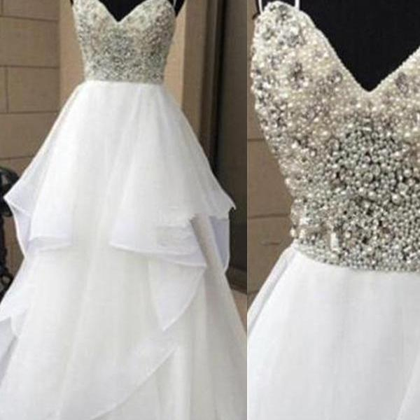 2017 Wedding Dress,Spaghetti Straps White Wedding Dresses,Sweetheart Pearls Beads Ball Gown Wedding Dresses,High Low Bodice Wedding Gowns,High Quality Tiered Fluffy Bridal Dress