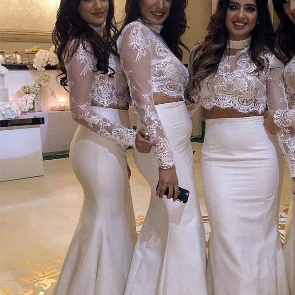2 Pieces White Prom Dresses,Long Sleeves Mermaid Lace Prom Dress ,High Neck 2 Pieces Bridesmaid Dresses,Ivory Lace Mermaid Bridesmaid Dress,High Quality Custom Made Cheap Wedding Dresses,Bridal Wedding Gowns