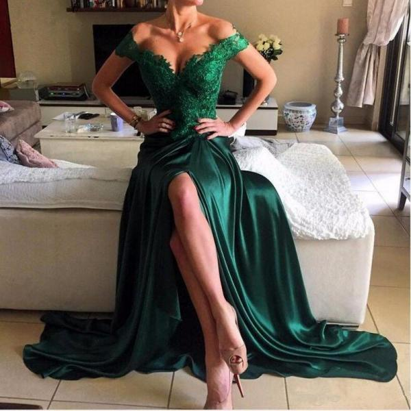 Dark Green Prom Dresses, Lace Prom Dress,Long Evening Dresses,Elegant Prom Dresses,Green Evening Dress, Formal Women Dress,prom dress