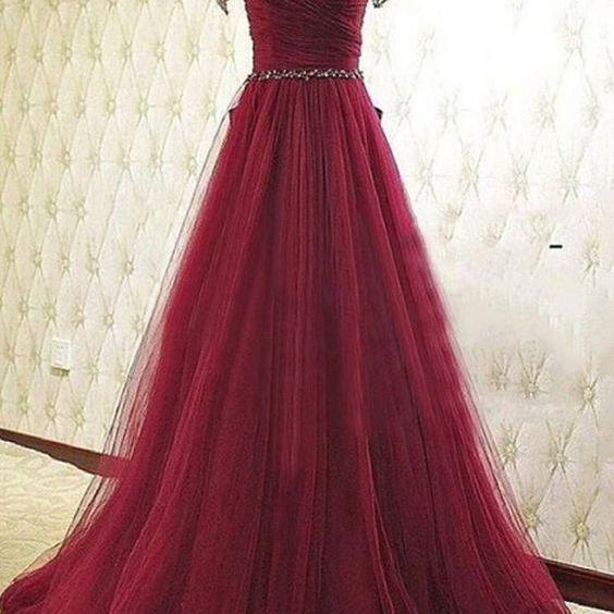 Ball Gown Prom Dresses,Tulle Prom Dress,Beading Prom Dresses,Red Evening Dress, A Line Formal Dresses, Prom Dress