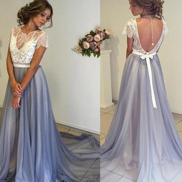 A Line Prom Dress,Chiffon Prom Dresses,Short Sleeves Evening Dress,Lace Evening Dress, Long Party Dresses, Prom Dress