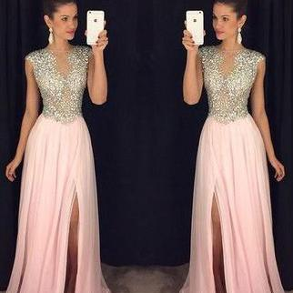 Blush Pink Prom Dresses, Beading Prom Dress, A Line Peom Gown, Formal Evening Dresses, Long Party Dresses, Prom Dress