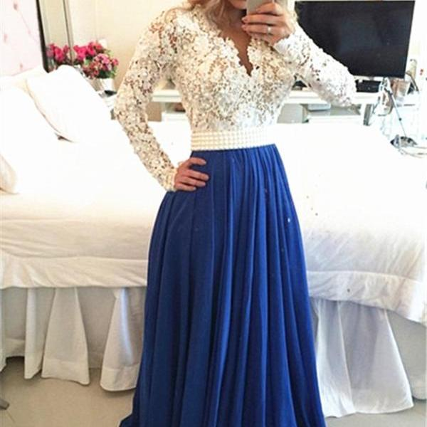 Royal Blue Prom Dresses, Long Sleeves Prom Dress, White Evening Dresses, Lace Prom Dresses, Chiffon Party Dresses, Porm Dress