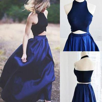 Beautiful Prom Dress,Halter Prom Dresses,Royal Blue Prom Dresses,Long Evening Dress, Prom Dresses 2017, Prom Dress