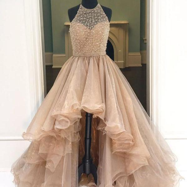High-Low Prom Dresses, Beading Prom Dress,,Ball Gown Prom Dresses,Princess Prom Dresses,Long Evening Dress, Formal Women Dress,prom dress