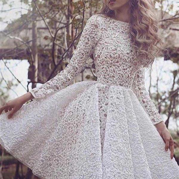 Short Prom Dresses, White Prom Dresses, Lace Prom Dress, Lace Evening Dresses, Short Party Dresses, Long Sleeves Prom Gown, Prom Dress