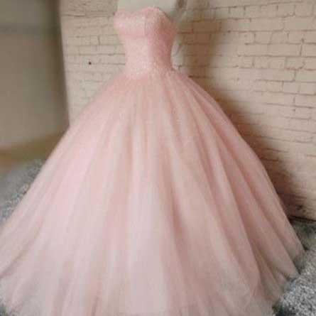 Ball Gown Prom Dresses, Sweetheat Prom Dresses, Pink Prom Gown, Beading Evening Dress, Long Formal Dresses, Prom Dress
