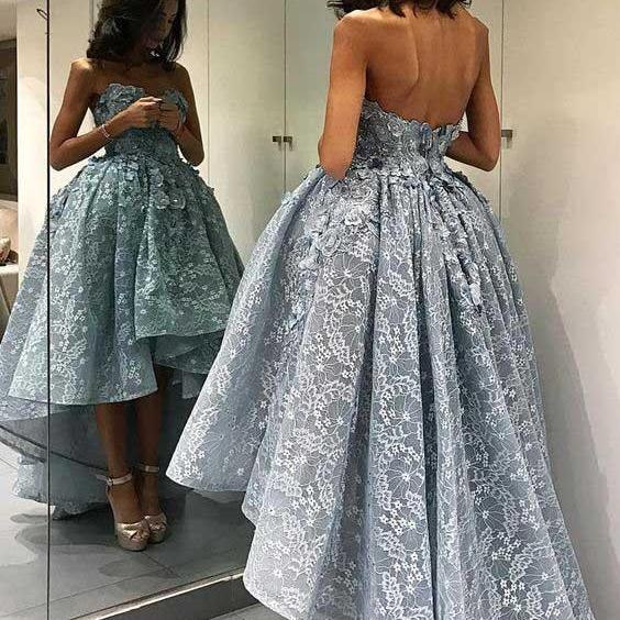 High-low Prom Dresses, Lace Prom Dress, Grey Prom Dresses, Sweetheart Prom Gown, Evening Dress 2017, Lace Formal Dresses, Prom Dress
